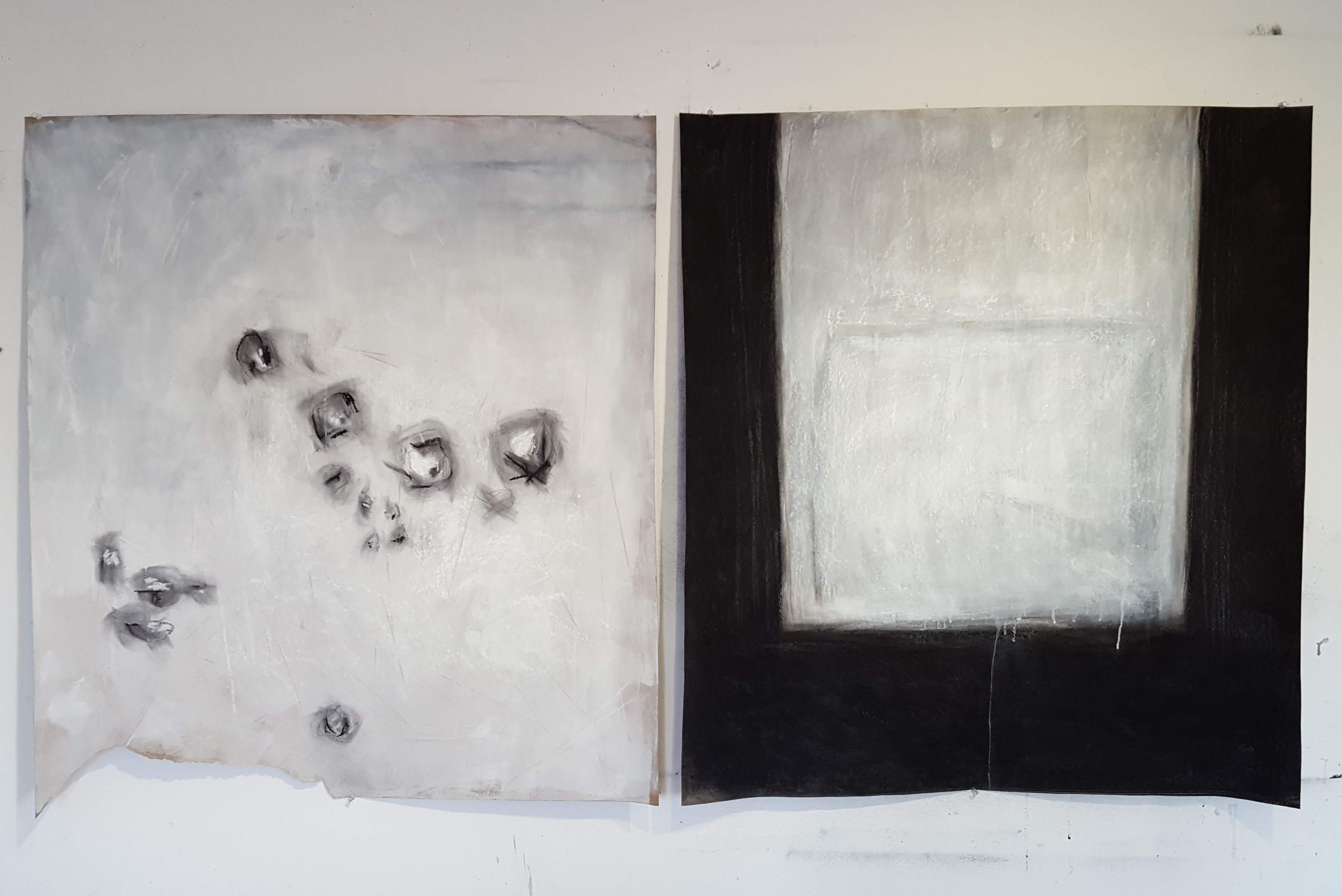 09 FLong Government St diptych charcoal on cardboard 182x91 cm 2019