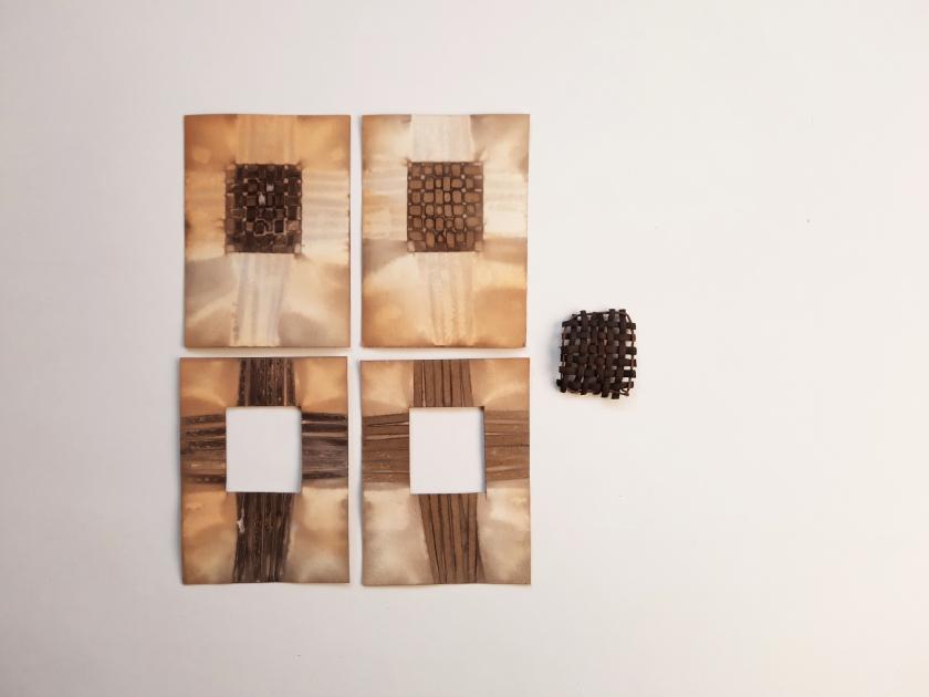 Eucalyptus Weave II, eucalyptus bark ad botanical contact print on paper, approx 26 x 26 cm, 2020