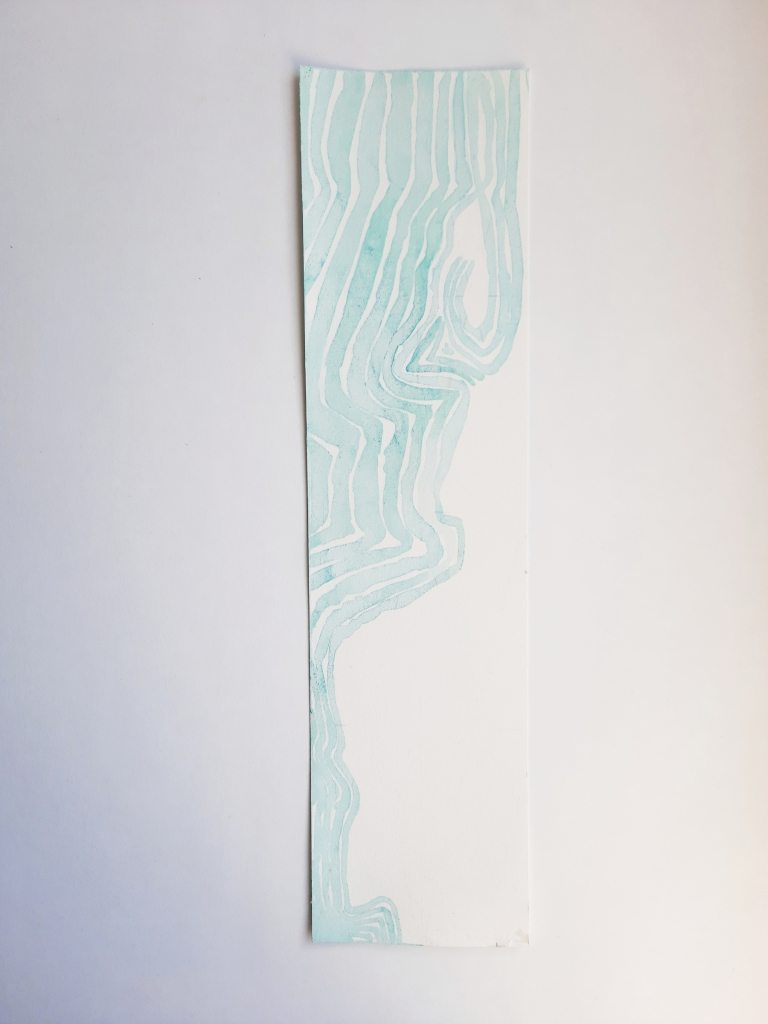 Trails to Nowhere I, copper oxide ink on paper, 38 x 9 cm, 2020
