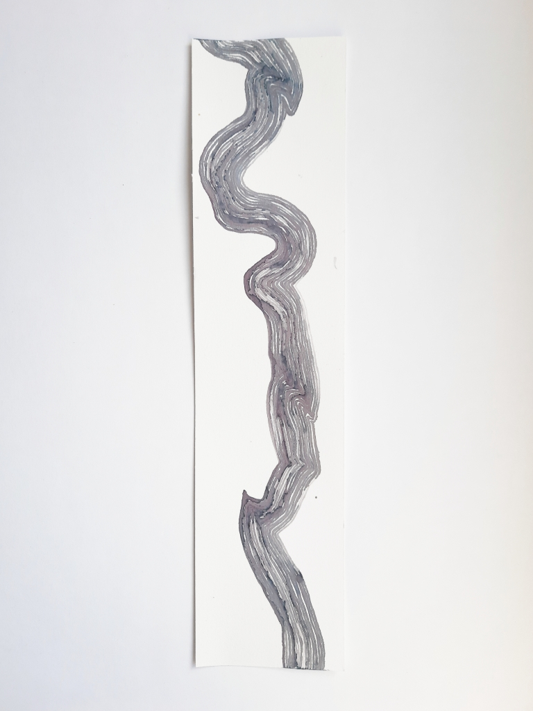 Trails to Nowhere III, elderberry ink on paper, 38 x 9 cm, 2020